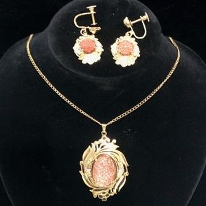 Vintqage Black Hills Gold Necklace and Earring set